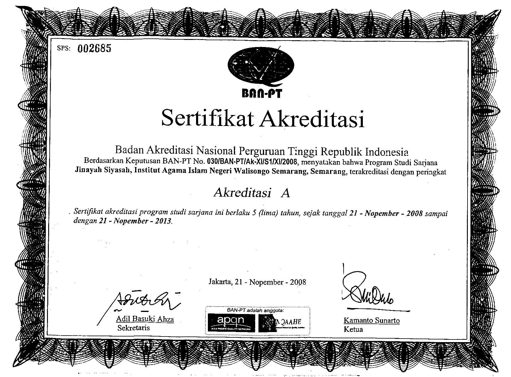 Sertifikat Akreditasi Fakultas Syari Ah Dan Hukum
